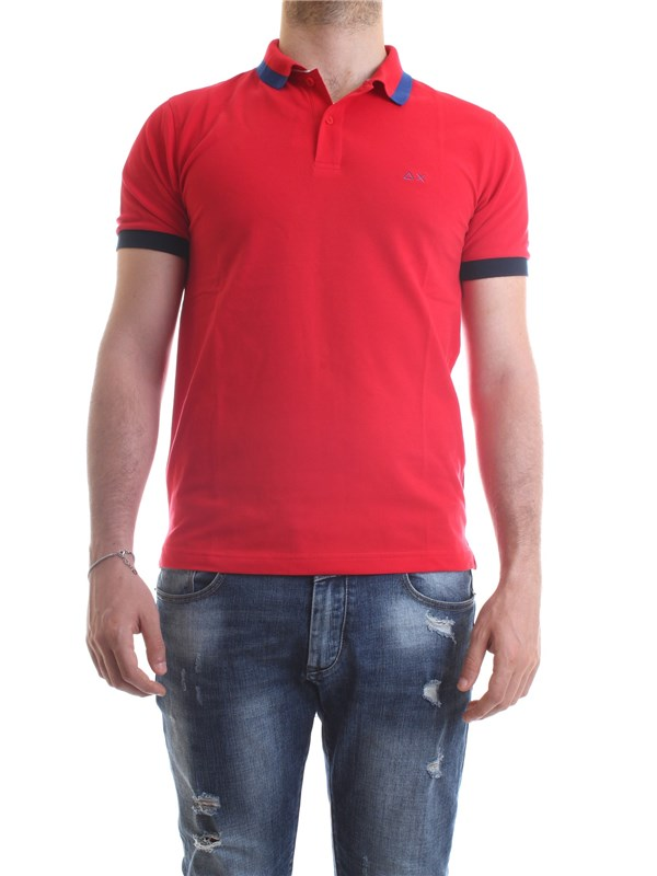 SUN68 A30107 Red Clothing Man Polo shirt