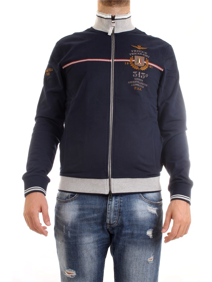 AERONAUTICA MILITARE 202FE1578F418 Blue Clothing Man Sweater